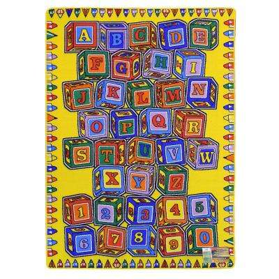Paradise-Alphabets Stacking Block Design Yellow Color 4 ft. 11.75 in. x 6 ft. 11.50 in. Indoor Area Rug