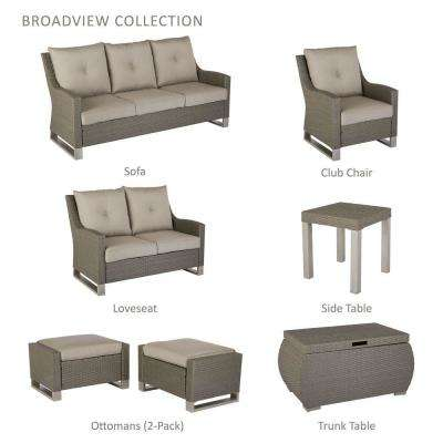 Broadview 4-Piece Gray Resin Wicker Patio Seating Set with Sunbrella Spectrum Dove Cushions