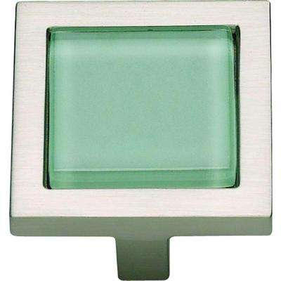 Spa Collection 1-3/8 in. Brushed Nickel With Green Glass Inset Square Cabinet Knob