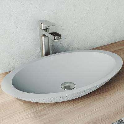 Yarrow Concrete Oval Vessel Bathroom Sink in Ash
