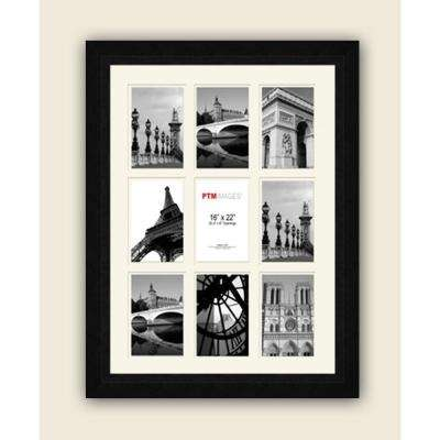 9-Opening 4 in. x 6 in. White Matted Black Photo Collage Frame