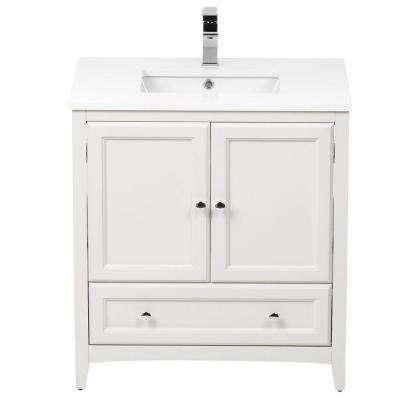 Oxford 30 in. Vanity in Antique White with Ceramic Vanity Top in White with White Basin and Mirror