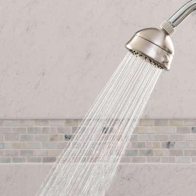 5-Spray 3.8 in. Single Wall Mount Low Flow Fixed Shower Head in Brushed Nickel