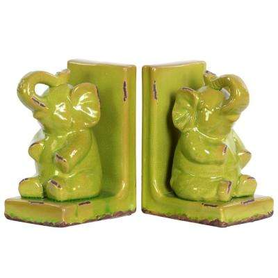 8.5 in. H Elephant Decorative Figurine in Green Gloss Distressed Finish