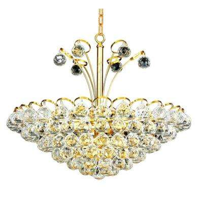 8-Light Gold Chandelier with Clear Crystal