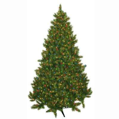 7.5 ft. Pre-Lit Carolina Fir Artificial Christmas Tree with Multi-Colored Lights