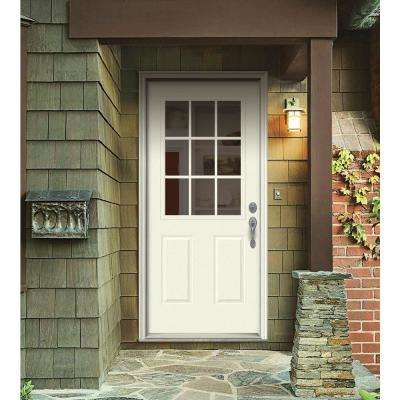 32 in. x 80 in. 9 Lite Vanilla Painted Steel Prehung Left-Hand Inswing Front Door w/Brickmould