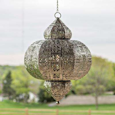 Outdoor Silver Integrated LED Hanging Lantern with Punched Metal Design