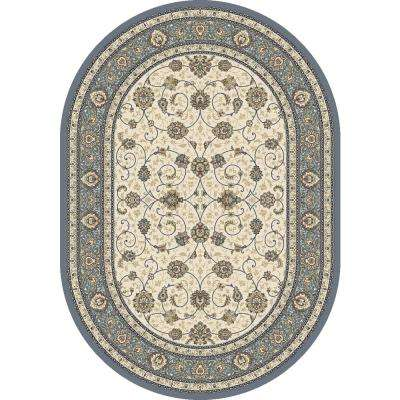 Ancient Garden Beige/Light Blue 2 ft. 7 in. x 4 ft. 7 in. Oval Indoor Area Rug