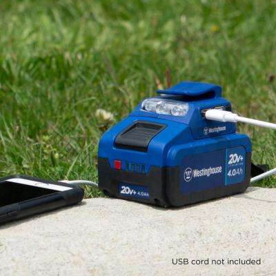 20-Volt USB Power Source Adapter with LED Flashlight Including 4.0 Ah Battery and Charger