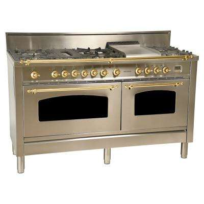 60 in. 6 cu. ft. Double Oven Dual Fuel Italian Range True Convection, 8 Burners, Griddle, Brass Trim in Stainless Steel
