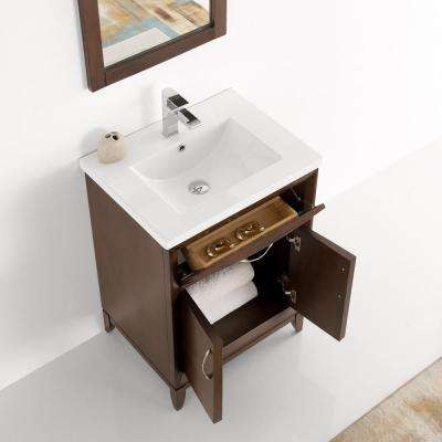 Cambridge 24 in. Vanity in Antique Coffee with Porcelain Vanity Top in White with White Ceramic Basin and Mirror