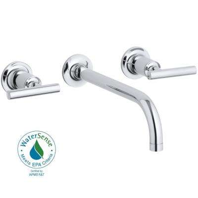 Purist Wall-Mount 2-Handle Low-Arc Faucet Trim in Polished Chrome (Valve Not Included)