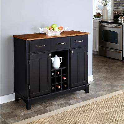 3-Drawer 41.75 in. W Black Buffet with Cottage Oak Wood Top