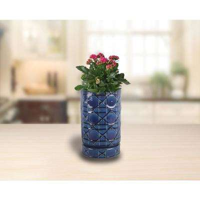 6 in. Dia Cobalt Blue Carlysle Cylinder Ceramic Planter