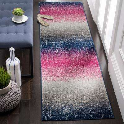 Madison Fuchsia/Navy 2 ft. 3 in. x 8 ft. Runner Rug