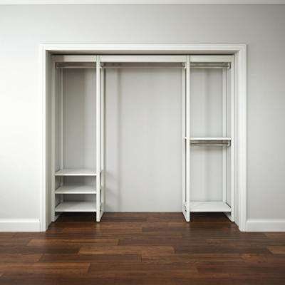 "Closet Storage 16.75""D x 91""W x 84""H White Wood & Aluminum Customizable Decorative Storage Organizer Closet System"