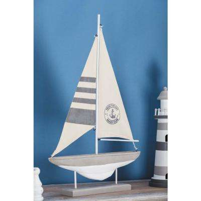 14 in. x 22 in. Coastal Living Wood Cement Sailboat Decor