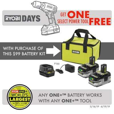 18-Volt ONE+ LITHIUM+ HP 3.0 Ah Battery (2-Pack) Starter Kit with Charger and Bag