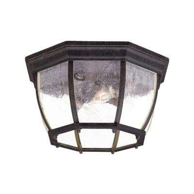 Flushmount Collection Ceiling-Mount 4-Light Black Coral Outdoor Light Fixture