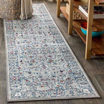 Modern Persian Vintage Medallion Light Grey/ Multi 2 ft. x 8 ft. Runner Rug