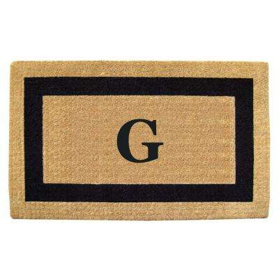Single Picture Frame Black 22 in. x 36 in. HeavyDuty Coir Monogrammed G Door Mat