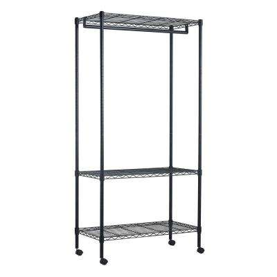 3-Shelf 35 in. W x 71 in. H x 17 in. D Steel Garment Rack in Black with Wheels