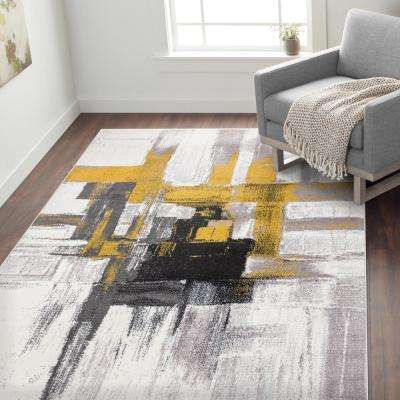 "Contemporary Modern Abstract Area Rug 7' 10"" x 10' Gold"