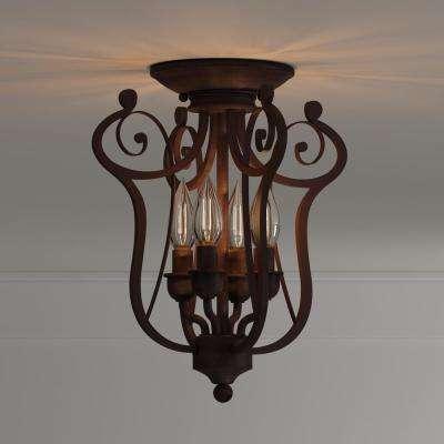 4-Light Rubbed Bronze Candle Semi-Flush Mount Light