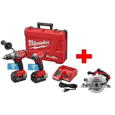 M18 FUEL with ONE-KEY 18-Volt Lithium-Ion Brushless Cordless Hammer Drill/Impact Combo Kit with Free M18 Circular Saw