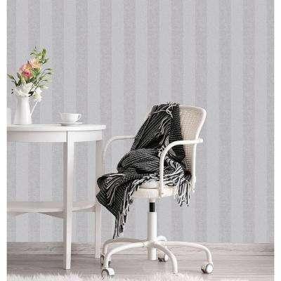56.4 sq. ft. Audrey Light Grey Tweed Stripe Wallpaper