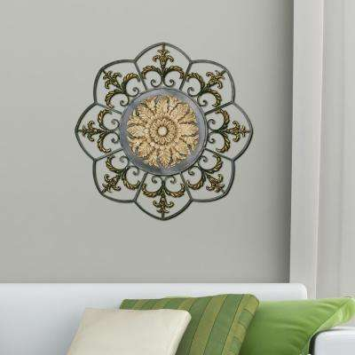 Antique Gold Medallion Metal Work Wall Decor
