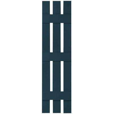12 in. x 88 in. Lifetime Vinyl Custom Three Board Spaced Board and Batten Shutters Pair Midnight Blue