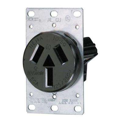50 Amp 3-Pole Single Flush-Mount Shallow Single Outlet, Black