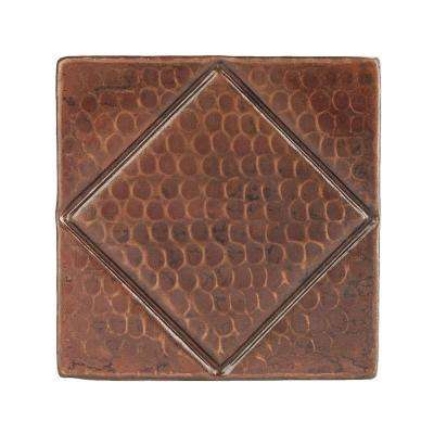4 in. x 4 in. Hammered Copper Decorative Wall Tile with Diamond Design in Oil Rubbed Bronze (8-Pack)