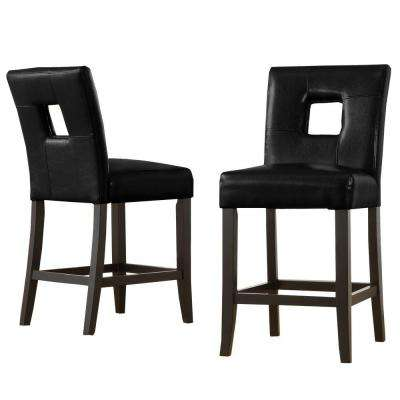24 in. Black Counter Chairs, Cut Out Center Back (Set of 2)
