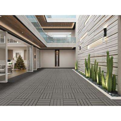Terrace Cement 4/5 in. Thickness x 12 in. Width x 12 in. Length Deck Tile Composite Bamboo Flooring (11 sq. ft. per Box)