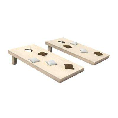 Wooden Cornhole Toss Game Set with Brown and White Bags