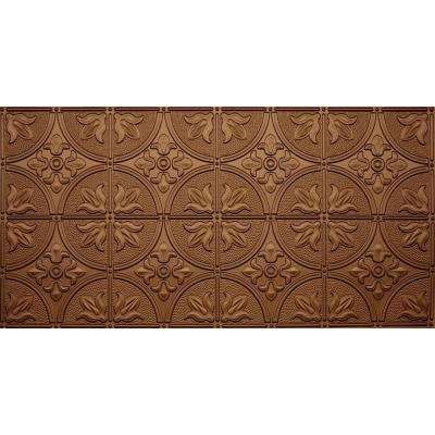 Dimensions Faux 2 ft. x 4 ft. Glue-up Tin Style Surface Mount Ceiling Tile in Fused Bronze