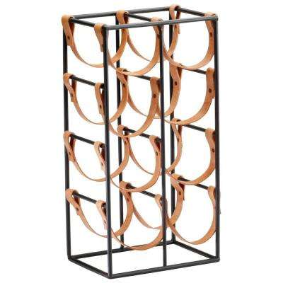 Prospect 17.25 in. x 8.75 in. Iron and Leather Wine Rack