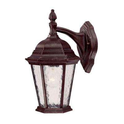 Telfair Collection 1-Light Marbleized Mahogany Outdoor Wall-Mount Light Fixture