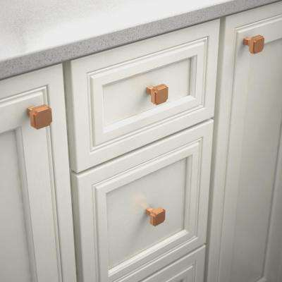 Notched 1-1/8 in. (28mm) Brushed Copper Square Cabinet Knob