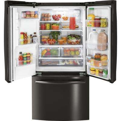 17.5 cu. ft. French Door Refrigerator in Black Stainless Steel, Counter Depth and Fingerprint Resistant