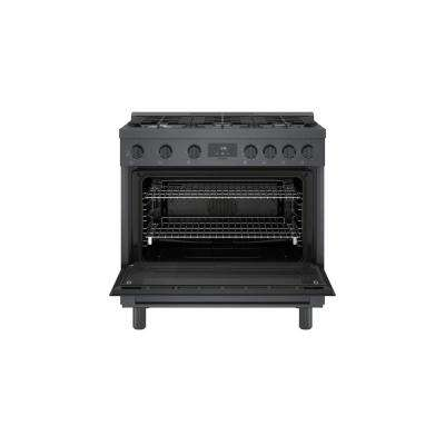 36 in. 3.5 cu. ft. Industrial Style Gas Range with 6-Burners in Black Stainless Steel
