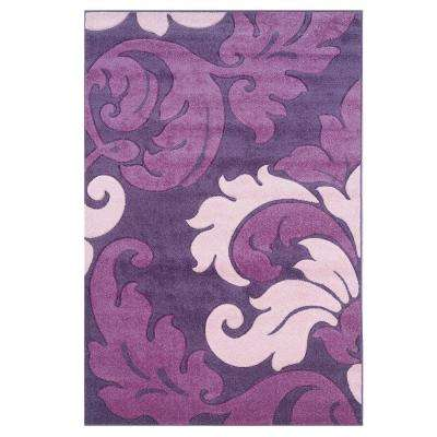 Corfu Collection Purple and Baby Pink 5 ft. x 7 ft. 7 in. Indoor Area Rug