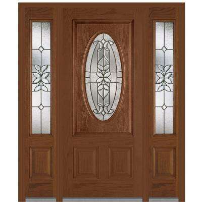 64.5 in. x 81.75 in. Cadence Decorative Glass 3/4 Oval Finished Fiberglass Oak Exterior Door with Sidelites