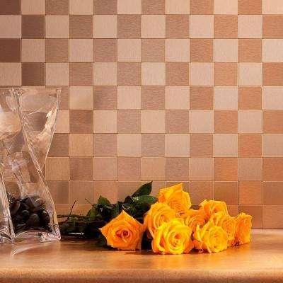 Square Matted 12 in. x 4 in. Brushed Champagne Metal Decorative Tile Backsplash (1 sq. ft.)