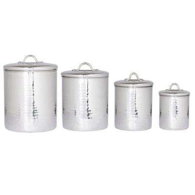 4 qt. 2 qt. 1.5 qt. 1 qt. Stainless Steel Hammered Canister Set with Fresh Seal Covers (4-Piece)