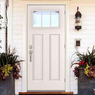 3 Lite Primed White Steel Prehung Front Door w/ 4 in. Wall