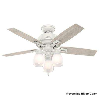 Donegan 44 in. LED 3-Light Indoor Fresh White Ceiling Fan bundled with Handheld Remote Control
